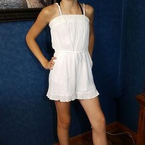 Art Class 10/12 Romper White Tie Waist Pocket Girl